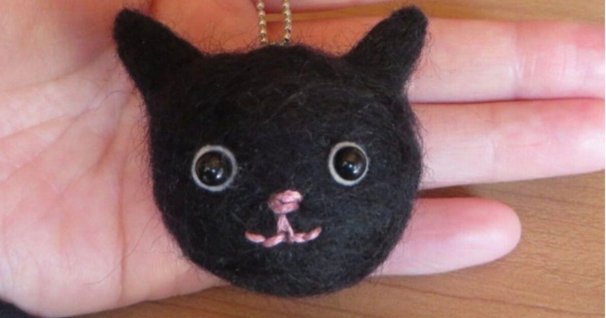 羊毛フェルトでつくる黒ネコ