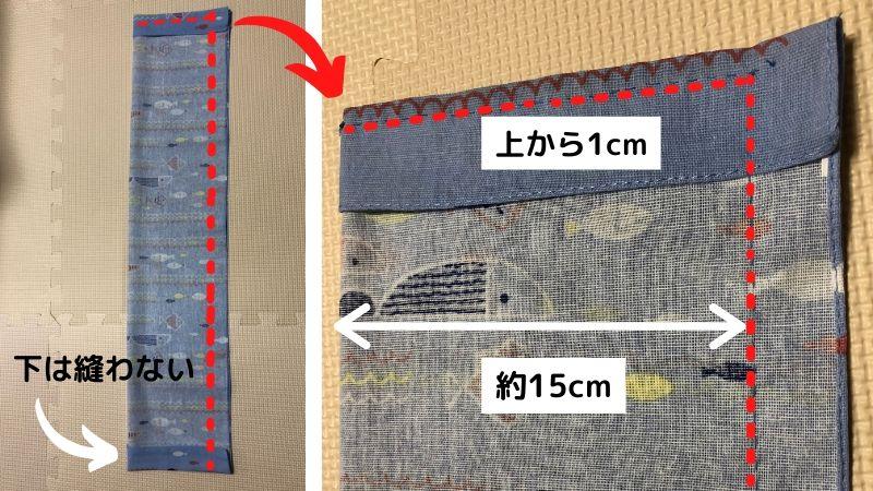 上と横の縫う位置の説明画像
